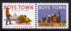 Cinderella - United States 1958 Boys Town, Nebraska fine mint set of 2 labels showing boys & Church inscribed Father Flanagan's Boys Home
