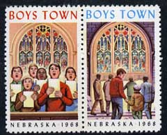 Cinderella - United States 1968 Boys Town, Nebraska fine unmounted mint set of 2 labels showing boys choir & Stained Glass Church window