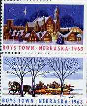 Cinderella - United States 1963 Boys Town, Nebraska fine unmounted mint set of 2 showing Horse-drawn sledge & Church