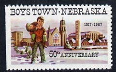 Cinderella - United States 1967 Boys Town, Nebraska 50th Anniversary label showing boys playing outside Church*