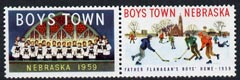 Cinderella - United States 1959 Boys Town, Nebraska fine mint set of 2 labels showing boys playing Ice Hockey & Choir