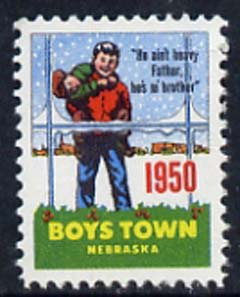 Cinderella - United States 1950 Boys Town, Nebraska fine unmounted mint labels showing Boy carrying another in snow inscribed 'He ain't heavy Father, he's m' brother'*