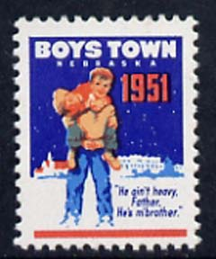 Cinderella - United States 1951 Boys Town, Nebraska fine unmounted mint labels showing Boy carrying another in snow inscribed 'He ain't heavy Father, he's m' brother'*