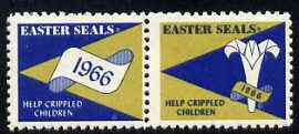 Cinderella - United States 1966 Crippled Children Easter Seals, fine mint set of 2 labels showing logo and date in scroll unmounted mint