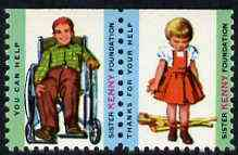 Cinderella - United States Sister Kenny Foundation fine unmounted mint set of 2 labels showing Boy in Wheelchair & Girl with Crutches