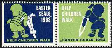 Cinderella - United States 1963 Crippled Children Easter Seals, fine mint set of 2 labels showing Children on Crutches unmounted mint