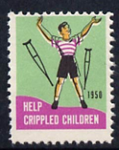 Cinderella - United States 1950 Crippled Children Easter Seal, fine unmounted mint label showing child walking without his crutches*