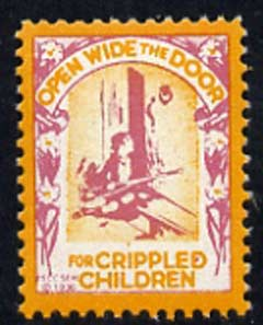 Cinderella - United States Crippled Children fine mint label showing crippled child at door inscribed 'Open Wide the Door' (text without shading)*