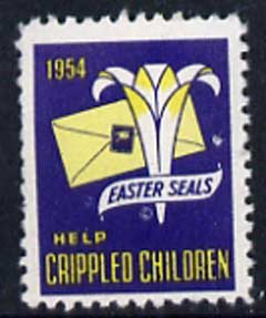 Cinderella - United States 1954 Crippled Children Easter Seal, fine unmounted mint label showing Logo & Envelope bearing seal*