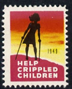 Cinderella - United States 1949 Crippled Children fine mint label showing silhouette of crippled child unmounted mint*