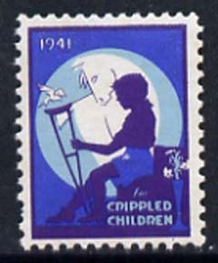 Cinderella - United States 1941 Crippled Children mint label showing silhouette of crippled child unmounted mint
