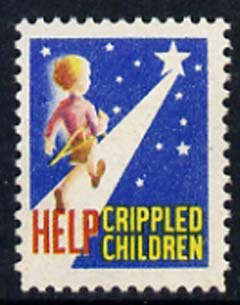 Cinderella - United States Crippled Children fine mint label showing Boy carrying his crutches walking towards the stars