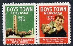 Cinderella - United States 1957 Boys Town, Nebraska fine mint set of 2 labels showing 2 boys & monument inscribed Father Flanagan's Boys Home