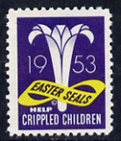Cinderella - United States 1953 Crippled Children Easter Seal, fine mint label showing logo unmounted mint*