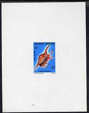 French Polynesia 1978 Scorpion Conch 31f imperf deluxe sheet on sunken card in full issued colours, as SG 270