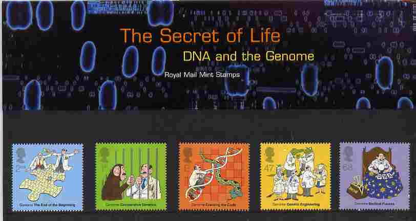 Great Britain 2003 Discovery of DNA - Secrets of Life perf set of 5 in official presentation pack SG 2343-47