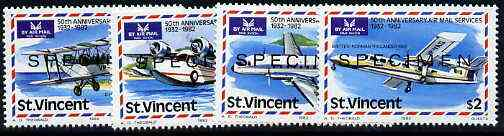 St Vincent 1982 50th Anniversary of Airmail Services unmounted mint set of 4 opt'd SPECIMEN, as SG 7-2-05
