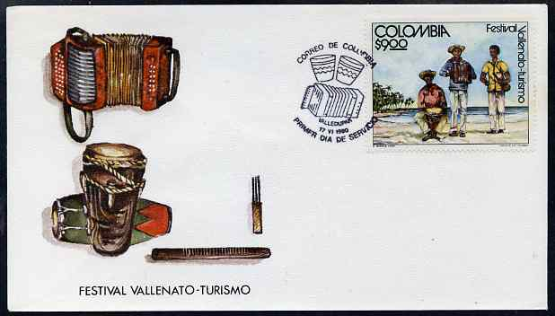 Colombia 1980 Tourist Music Festival illustrated cover with special cancel showing musical instruments