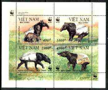 Vietnam 1995 WWF Malayan Tapir m/sheet containing set of 4, each overprinted SPECIMEN (only 200 produced) unmounted mint