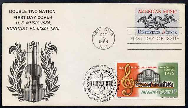 United States & Hungary 1964-75 combination cover for US Music & Franz Liszt with appropriate cancels