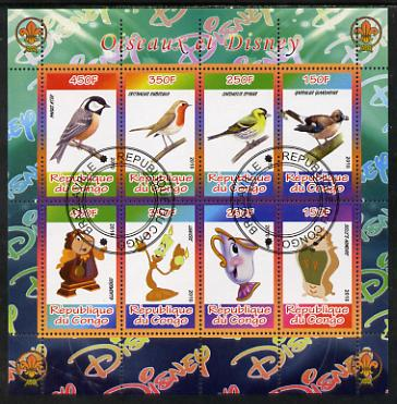 Congo 2010 Disney & Birds perf sheetlet containing 8 values with Scout Logo fine cto used