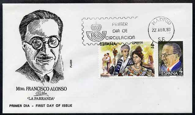 Spain 1983 Masters of Operetta - Francisco Alonso se-tenant pair on illustrated cover with first day cancel