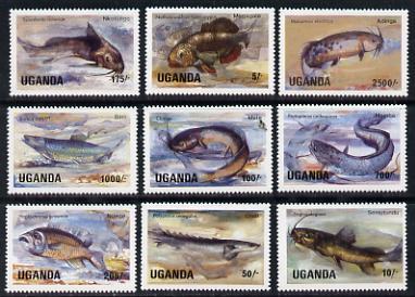 Uganda 1985 Fish set of 9 values only, unmounted mint SG 457-60, 462-63 & 465-67