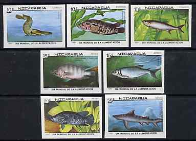 Nicaragua 1987 World Food Day (Fishes) complete set of 7 IMPERF, as SG 2917-23