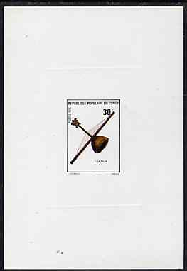 Congo 1977 Musical Instruments 30f (Esanga) imperf deluxe sheet on sunken card in full issued colours, as SG 473