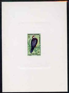 New Caledonia 1966 Birds 3f (White Throated Pigeon) imperf deluxe sheet on sunken card in full issued colours, as SG 407