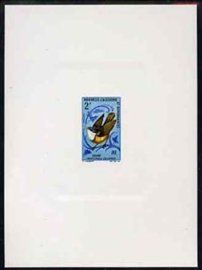 New Caledonia 1966 Birds 2f (Caledonian Whistler) imperf deluxe sheet on sunken card in full issued colours, as SG 405