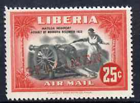 Liberia 1947 Anniversary of Defence 25f (Cannon) fine unmounted mint opt