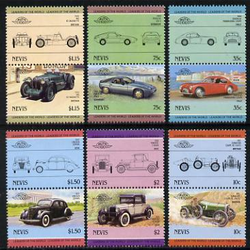 Nevis 1986 Cars #4 (Leaders of the World) set of 12 unmounted mint SG 326-37, stamps on cars    sunbeam    cystalia    pontiac    mg    lincoln     porsche , stamps on  mg , stamps on