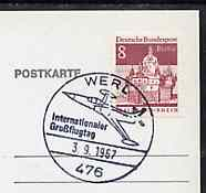 Postmark - West Berlin 1967 postcard bearing 8pfg stamp with special cancellation for International Aviation Congress illustrated with US Starfighter aircraft