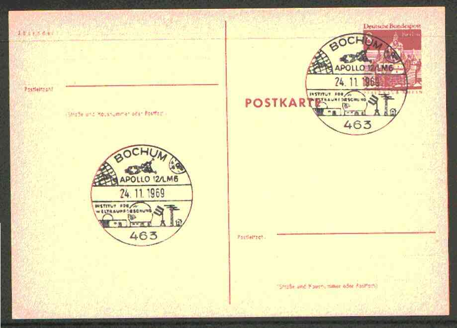 Postmark - West Berlin 1969 8pfg postal stationery card with special Bochum cancellation for Apollo 12 flight  illustrated with Lunar Module and view of Space Research Institute at Bochum