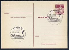 Postmark - West Berlin 1968 8pfg postal stationery card with special cancellation for German-American Popular Music Festival illustrated with Trumpet Player