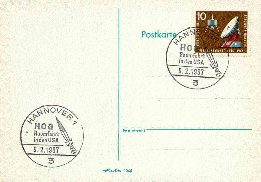 Postmark - West Berlin 1967 postcard with special cancellation for Space Travel & Space Research in the USA, illustrated with Rocket & Initials HOG (Hermann Oberth Society)