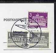 Postmark - West Berlin 1967 postcard bearing 5pfg in stamps with special cancellation for Flying Day at Werl Airfield illustrated with US Starfighter aircraft