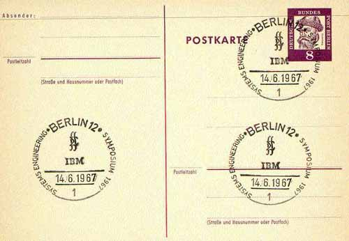 Postmark - West Berlin 1967 postcard bearing 8pfg stamp with special cancellation for Systems Engineering Symposium illustrated with IBM Insignia
