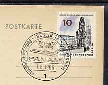 Postmark - West Berlin 1966 postcard bearing 10pfg stamp with special cancellation for the First Boeing 727 Pan-Am Flight between West Berlin and Hamburg illustrated with 727 aircraft