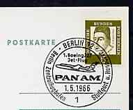 Postmark - West Berlin 1966 postcard bearing 5pfg stamp with special cancellation for the First Boeing 727 Pan-Am Flight between West Berlin and Stuttgart illustrated with 727 aircraft