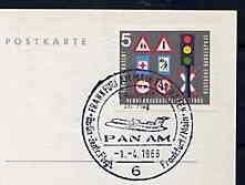 Postmark - West Germany 1966 postcard bearing 5pfg stamp with special cancellation for the First Boeing 727 Pan-Am Flight between Frankfurt and West Berlin illustrated with 727 aircraft