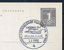 Postmark - West Germany 1966 postcard bearing 1pfg stamp with special cancellation for the First Boeing 727 Pan-Am Flight between D�sseldorf and West Berlin illustrated with 727 aircraft