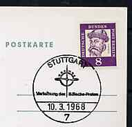 Postmark - West Berlin 1968 postcard bearing 8pfg stamp with special cancellation for the Presentation of the Wilhelm B�lsche Prize by the Cosmos Society illustrated with the Cosmos symbol