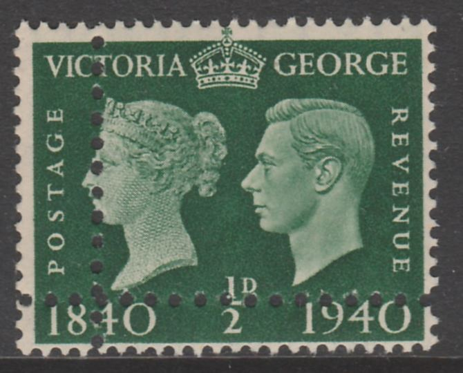 Great Britain 1940 Stamp Centenary 1/2d green unmounted mint with perforations doubled (stamp is quartered) interesting forgery. Note: the stamp is genuine but the additional perfs are a slightly different gauge identifying it to be a forgery.