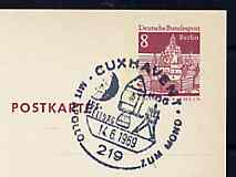 Postmark - West Berlin 1969 8pfg postal stationery card with special cancellation for the Cuxhaven 'With Apollo to the Moon' Exhibition, illustrated with Space Vehicle & Initials HOG (Hermann Oberth Society)