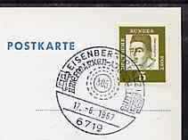 Postmark - West Germany 1967 postcard bearing 5pfg stamp with special cancellation for the Eistal Stamp Collector's Group illustrated with '805 Millwheel' handstamp
