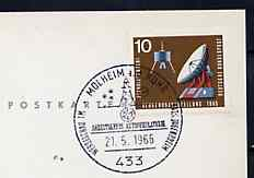 Postmark - West Germany 1966 postcard bearing 10pfg stamp with special cancellation for the Astrophilately Working Group illustrated with Mercury Capsule