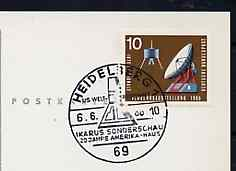 Postmark - West Germany 1966 postcard with special Heidelberg cancellation for the Ikarus Collector's Society Stamp Exhibition illustrated with Space Capsule, stamps on space, stamps on stamp exhibitions