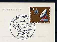 Postmark - West Germany 1966 postcard bearing 10pfg stamp with special cancellation for Special Congress for Atmospheric Ballistics illustrated with Rocket on Launch Pad